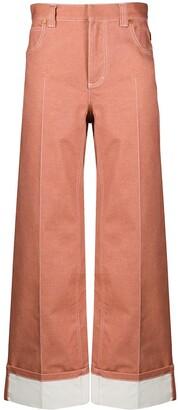 Chloé Contrast Stitch Wide-Leg Trousers