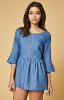 Lucca Couture Denim Ladder Cut Trim Dress