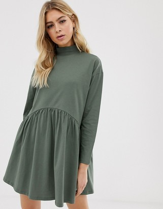 Asos Design DESIGN high neck curve seam smock dress-Green
