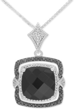 Macy's Onyx (10mm x 10mm) and Diamond (1/8 ct. t.w.) Pendant Necklace in Sterling Silver