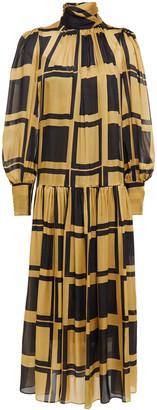 Zimmermann Gathered Printed Silk-satin Maxi Dress