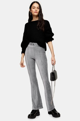 Topshop Womens Grey Corduroy Flare Trousers - Pale Grey