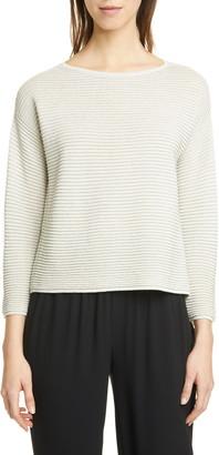 Eileen Fisher Metallic Flecked Horizontal Ribbed Sweater
