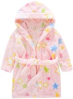 Happy Cherry Children's Robe Kids Cartoon Flannel Bathrobe Five-pointed Star Sleepwear Size 100