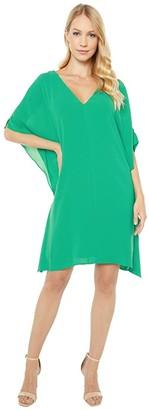 Adrianna Papell Gauzy Crepe Caftan Dress (Harbor Teal) Women's Dress