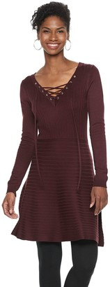 Nina Leonard Women's Lace-Up A-Line Sweater Dress