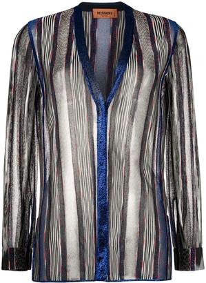 Missoni Transparent Striped Button-Up Cardigan