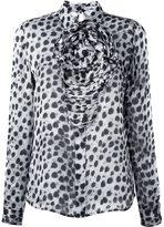 Blumarine animal print ruched shirt