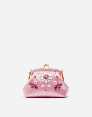 Dolce & Gabbana Satin Side Bag With Jewel Embroidery