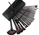 Sea Team Professional Facial Makeup Brush with Leather Case Soft Brush High Toughness Fibers (Pack of 24)