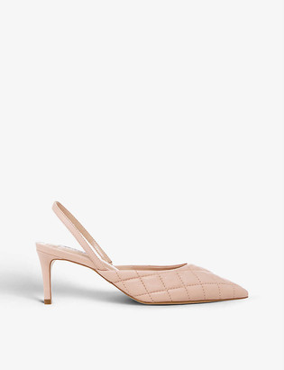 Dune Cammie quilted leather slingback courts