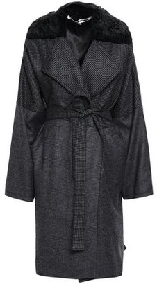 McQ Belted Faux Fur-trimmed Printed Wool Coat