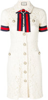 Gucci GG web trim lace shirt dress - women - Silk/Cotton/Polyamide - 42