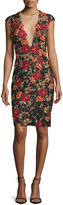 Jovani Cap-Sleeve Floral Open-Back Sheath Dress, Black/Multicolor