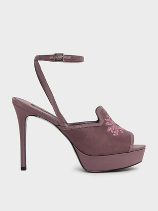 Charles & Keith Embroidery Detail Platform Heels