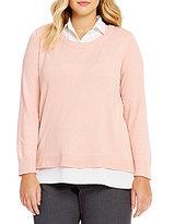 Calvin Klein Plus Solid Point Collar Shirttail Hem Blouse