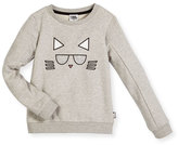 Karl Lagerfeld Choupette Crewneck Pullover Sweatshirt, Gray, Size 12-16