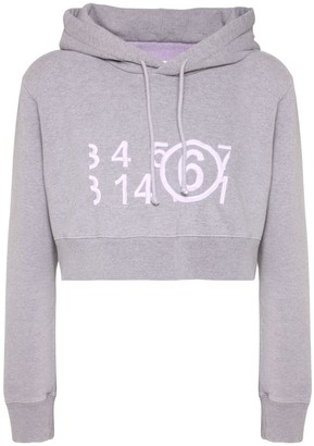 MM6 MAISON MARGIELA Crop Logo Embroidery Cotton Hoodie