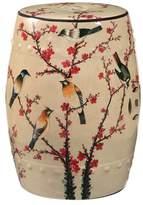 Abbyson Kiara Hand Painted Birds Ceramic Gardent Stool