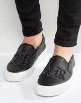Asos Slip On Sneakers In Black With Towel Badging