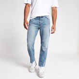 Mens River Island Mid Blue Jay loose fit cropped jeans