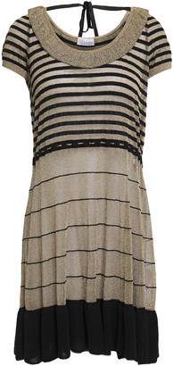 RED Valentino Velvet-trimmed Metallic Striped Knitted Mini Dress