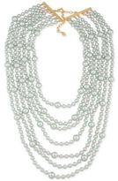 Carolee Gold-Tone Gray Imitation Pearl Multi-Row Necklace