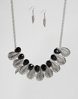 Ruby Rocks Feather Detail Necklace And Earring Set