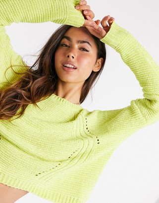 Liquorish cropped jumper in neon yellow