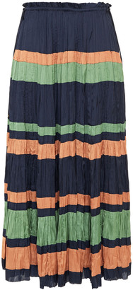 Ulla Johnson Ruffle-trimmed Striped Plisse-satin Midi Skirt