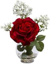 Asstd National Brand Nearly Natural Rose & Gypso Silk Flower Arrangement with Fluted Vase