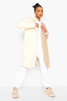 boohoo Colourblock Teddy Faux Fur Coat