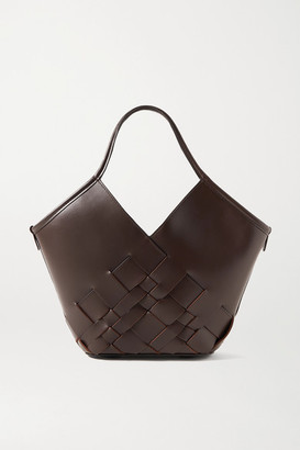 Hereu Coloma Large Woven Leather Tote - Dark brown
