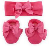 Story Loris Knit Booties and Headband Set w/ Grosgrain Bow Detail, Infant