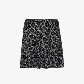 Adam Selman Sport Crystal leopard print skirt