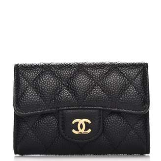 Chanel Card Holder Quilted Caviar Gold-tone Black