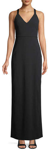 Alice + Olivia Brianna Sleeveless Side-Ruched Satin Maxi Dress
