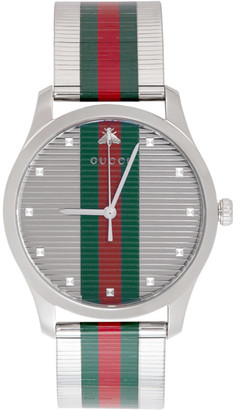 Gucci Silver G-Timeless Web Watch