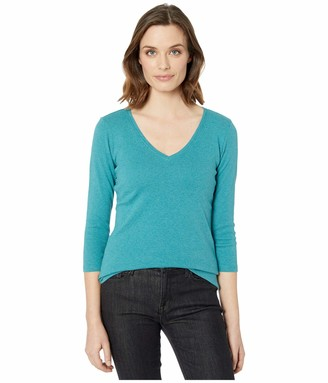 Pendleton Women's 3/4-Sleeve V-Neck Cotton Rib Tee T-Shirt