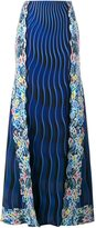 Mary Katrantzou Rainbow Cloud printed panelled skirt