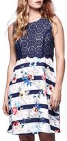 Yumi Tropical Striped Map Dress, Blue/Multi
