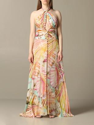 Blumarine Long Dress With American Neckline