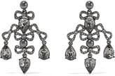 Oscar de la Renta Gunmetal-tone, crystal and faux pearl earrings