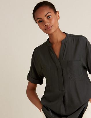 Marks and Spencer V-Neck Longline Short Sleeve Popover Blouse