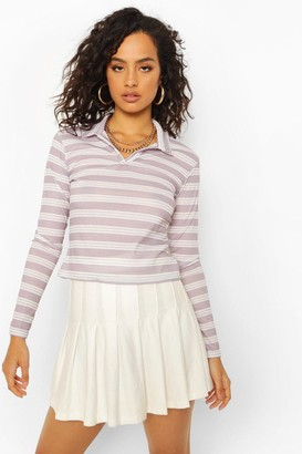 boohoo Stripe Rib Long Sleeve Polo Top