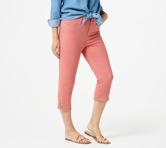 Denim & Co. Petite Tulip Snap Hem Denim Capri