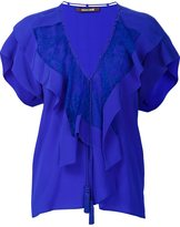 Roberto Cavalli ruffled V-neck blouse - women - Silk - 40