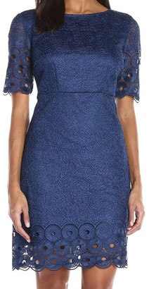 Jax Women's Short Sleeve Web Lace A-line with Embroidered Detail