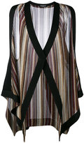 Balmain striped sleeveless cardigan - women - Cupro/Viscose/Metallized Polyester - 36