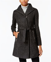 T Tahari Asymmetrical Tweed Coat